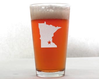 Minnesota Beer Glass - State Pint Glass - Pint Glass - Personalized Pint Glass - Etched Pint Glass - Groomsmen Pint Glass