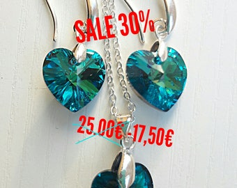 SALE earrings and pendant Swarovski crystals in the shape of heart