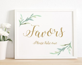 """Wedding Favor Sign Wedding Favour Sign Please take one, Printable Favor sign Printable Wedding Signage, 8x10"""" Download and Print - PDF"""