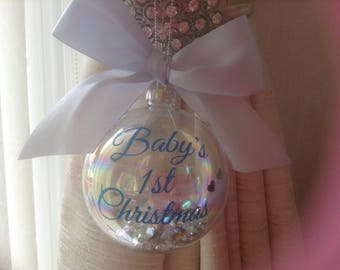 Bauble, baby's first Christmas, tree bauble, glass bauble, baby's, Christmas tree bauble, decoration, Christmas decoration, Christmas tree