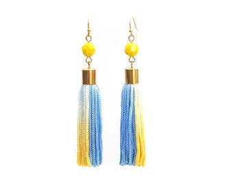 Eco friendly one of a kind hand dyed blue yellow tassel earrings for her festival jewelry fashion statement, bohochic ethical jewelry / CIEL