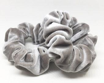 Grey Velvet Scrunchie
