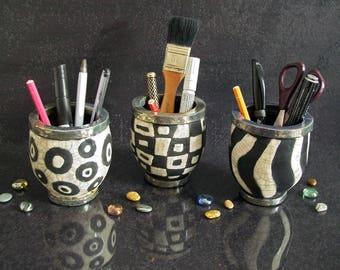 raku pottery pencil cup, ceramic penholder, black and white vase, cute desk accessories, ceramic organiser, office organiser, ceramic gift