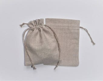 "25 Naural Linen Pouches * Custom Bags * Wedding Bag * Cloth Jewelry Bags * Gift Bags * Country Style Bags * 3.5""x 5"" (9cm x 13cm)"