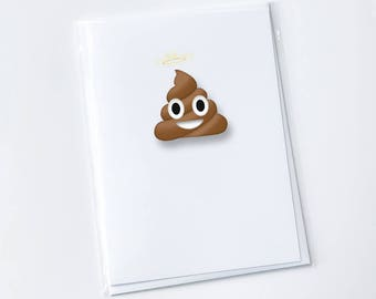 Funny belated birthday card | Poop emoticon greeting card | Belated birthday card