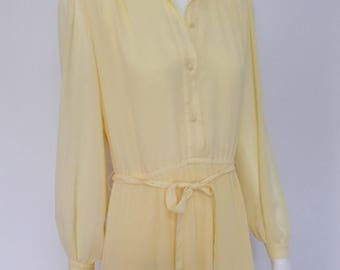 summer sale Vintage Parigi dress 70s lemon floral dress shirt waister size small