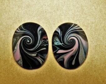 Cone earrings imitation marble