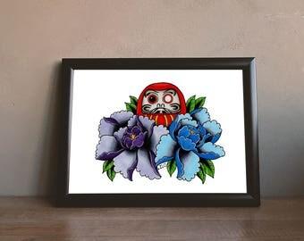 Daruma Peony Flower Tattoo Print