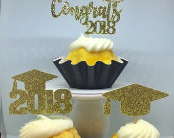 12ct graduation glitter cupcake toppers, Graduation cupcake toppers, class of 2018 cupcake toppers, 2018 graduation cupcake toppers