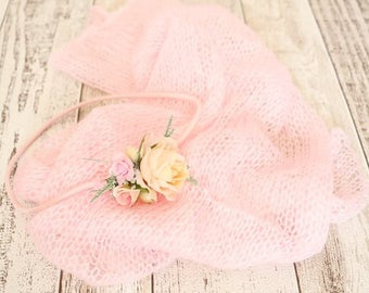 Baby wrap and baby headband - Pink