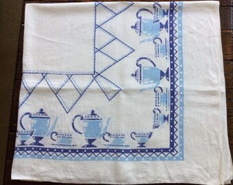 Broderie vintage tablecloth with coffee pots & cups and polka dots
