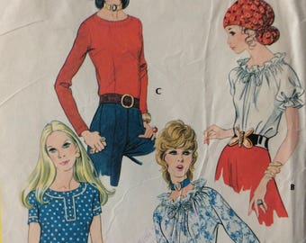 McCall's 2724 misses blouses size 14 bust 36 vintage 1970's sewing pattern