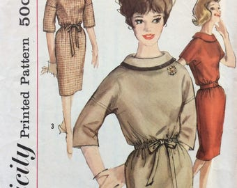 Simplicity 4070 misses slim dress size 12 bust 32 vintage 1960's sewing pattern