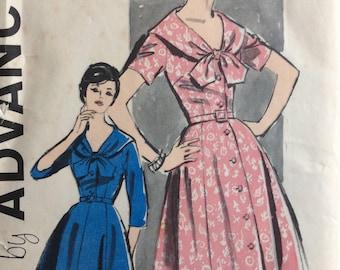 Advance 9695 misses half size dress size 14 1/2 bust 35 vintage 1950's sewing pattern  Uncut  Factory folds