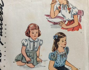 Simplicity 1209 girls blouse size 2 vintage 1940's sewing pattern