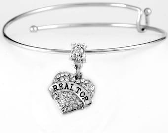 Realtor Bracelet Crystal Heart Realtor charm Bracelet Realtor Jewelry Realtor gift Realtor