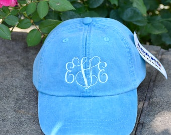 Monogramed Baseball Cap || Embroidered Dog Lover Hat || Monogram Gift by Three Spoiled Dogs Made in USA