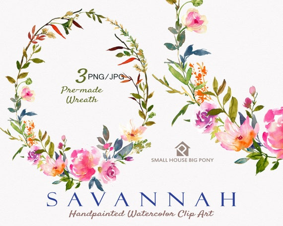 Digital Clipart- Watercolor Flower Clipart, peonies Clip art, Floral Bouquet Clipart, wedding flowers clip art- Savannah Wreath