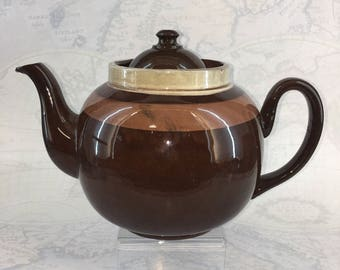 7-8 Cup Brown Betty Yellow Striped ALB Alcock Lindely & Bloor English Teapot Tea Pot ALB