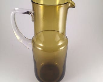 Vintage Avocado Green Hand Blown Glass Serving Pitcher Juice Jug