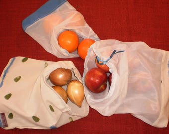 Set of 3 reusable produce bags.  bulk produce bags.  zero waste bags.  market bags.  fruit and vegetable bags
