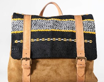 """Unique handmade handwoven cotton & leather LOOM backpack """"Danae"""""""