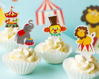 Circus Cupcake toppers Birthday Party, Elephant Lion Clown Carnival Cupcake Toppers, Set of 24