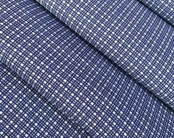 Indigo blue and white cotton yukata fabric - by the yard - grid pattern