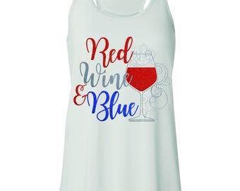 Glitter Red Wine & Blue custom designed tank top