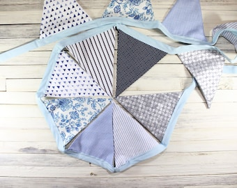 Shades of Blue Fabric Bunting, Fabric Flags, Nursery Decor, Boys Room Decor, Bunting Banner, Gifts Under 30