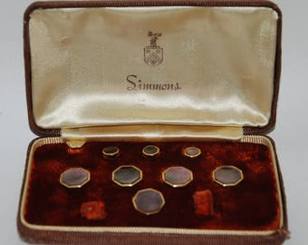 1940s-'50s era Simmons Formal Tuxedo Dress Shirt Studs and Vest Buttons Partial Set -- Free Shipping!