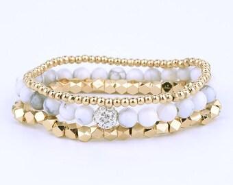 White Howlite and Gold Beaded Bracelet Stack