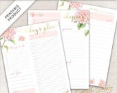 Printable Daily Planner Pack - Day Plan, Shopping List, Journal Page - Us Letter Size, A4 & A5 - Design #5 - INSTANT DOWNLOAD - .JPEG Files