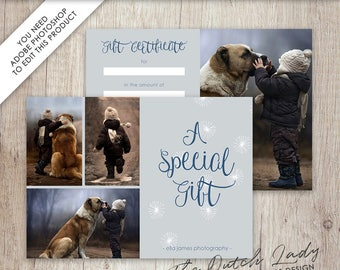 Photography Gift Certificate Template - Photo Gift Card - Design #12 - INSTANT DOWNLOAD - Layered .PSD Files