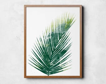 Watercolour Palm Leaf, Palm Print, Green Leaf Print, Palm Leaves, Palm Leaf Art, Water Color Painting, Large Wall Art, Leaf Printables