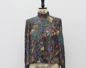 SALE Vintage 1970s Grey Floral Blouse