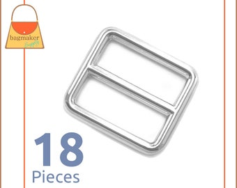 "1 Inch Slide for Purse Straps, Shiny Nickel Finish, 18 Pieces, Handbag Purse Bag Making Hardware Supplies, 1"", BKS-AA006"