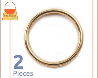 "2 Inch Cast O Rings, Gold Finish, 2 Pieces, Handbag Purse Bag Making Hardware Supplies, 2"", RNG-AA111"