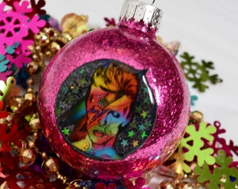 DAVID BOWIE ZiGGY StarDusT STAMEN Handmade Christmas Ornament With Stars ooak Holiday Decoration gift