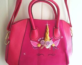 Light up unicorn bag tote bag ladies bag pink bag.