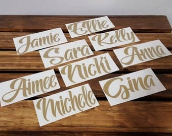 Custom Vinyl Decal Name, Name Decal, Personalized Vinyl Name Decal, Vinyl Name Decal, Laptop Decal, Wine Glass Decal, 2x4 inch