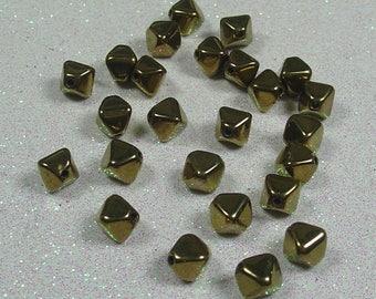 PYRAMID BEAD DOUBLE 6MM BRONZE GOLD BOHEMIAN GLASS