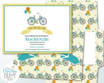 Bicycle Ride Party Printable Invitation in Yellow & Teal, 5x7in. Instant Download