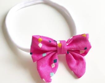 Baby Girl Pink Confetti Nylon Bow Headband