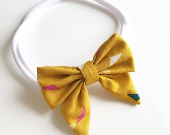 Baby Girl Mustard Confetti Nylon Bow Headband
