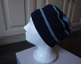 Blue Navy/Blue clear hand made crochet Beanie, cotton
