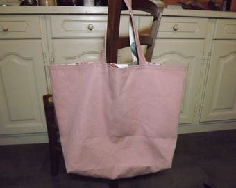 Large bag/tote bag reversible, pink / floral, large Pocket
