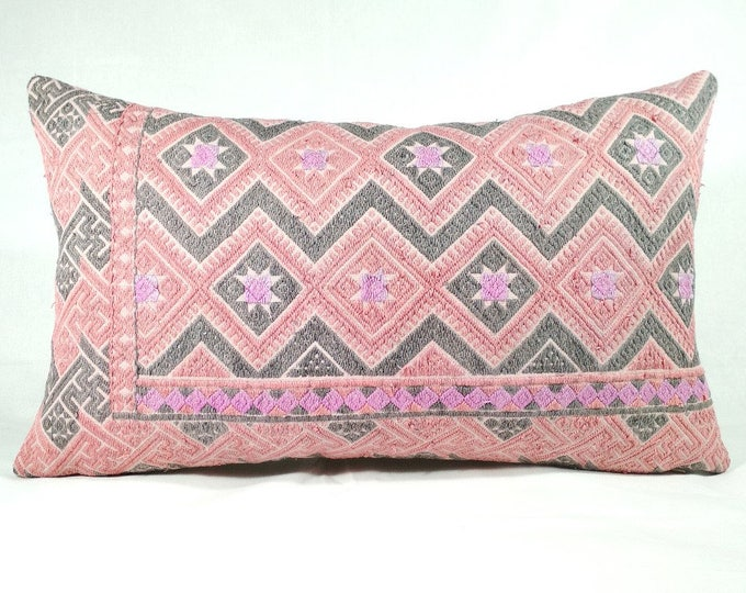 20% OFF SALE Vintage Chinese Wedding Blanket Pillow Cover / Boho Ethnic Miao Dowry Textile / Handwoven Lumbar Cushion Cover