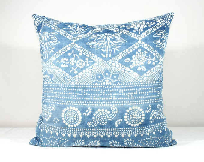 "SALE! 20""x20"" Vintage Indigo Batik Pillows, Old Chinese HMONG Batik Fabric Pillow Case, Ethnic Textile Cushion Cover"