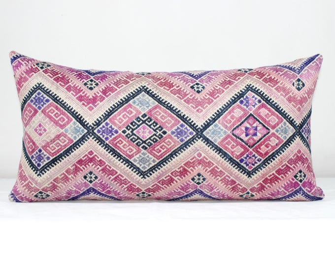 "20% OFF SALE 12""x24"" Pink Vintage Chinese Wedding Blanket Lumbar Pillow Cover/ Boho Ethnic Dowry Textile/ Handwoven Cotton Silk Cushion"